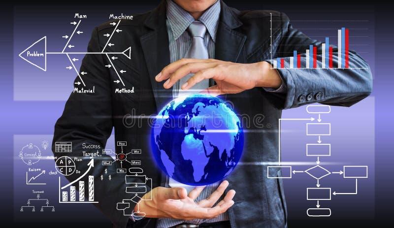 O conceito da escrita do homem de negócio do processo de negócios melhora fotos de stock royalty free