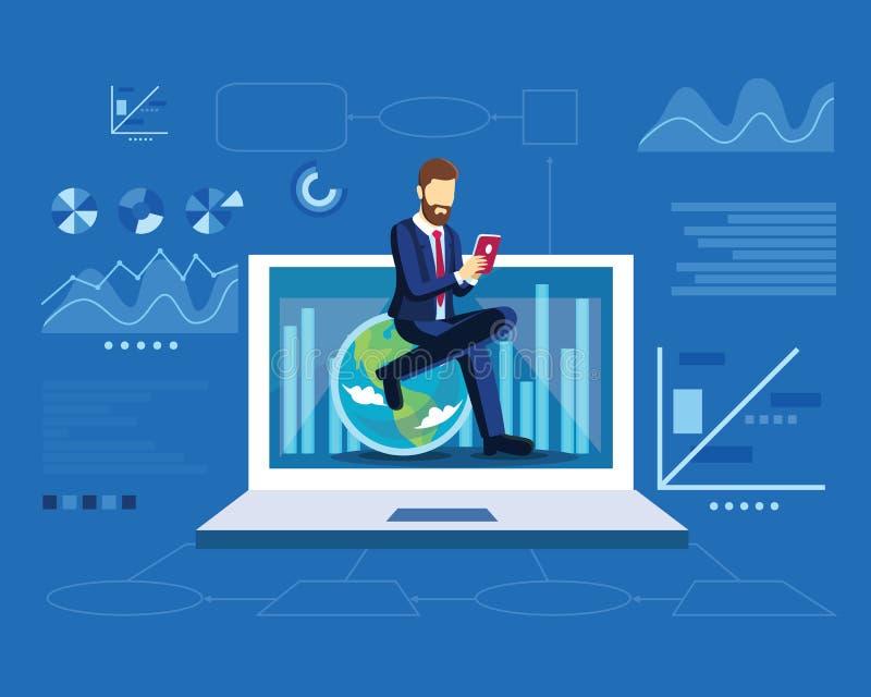 O conceito da estratégia de marketing de Digitas com homem de negócio senta-se no globo no molde liso moderno do projeto para a p ilustração do vetor