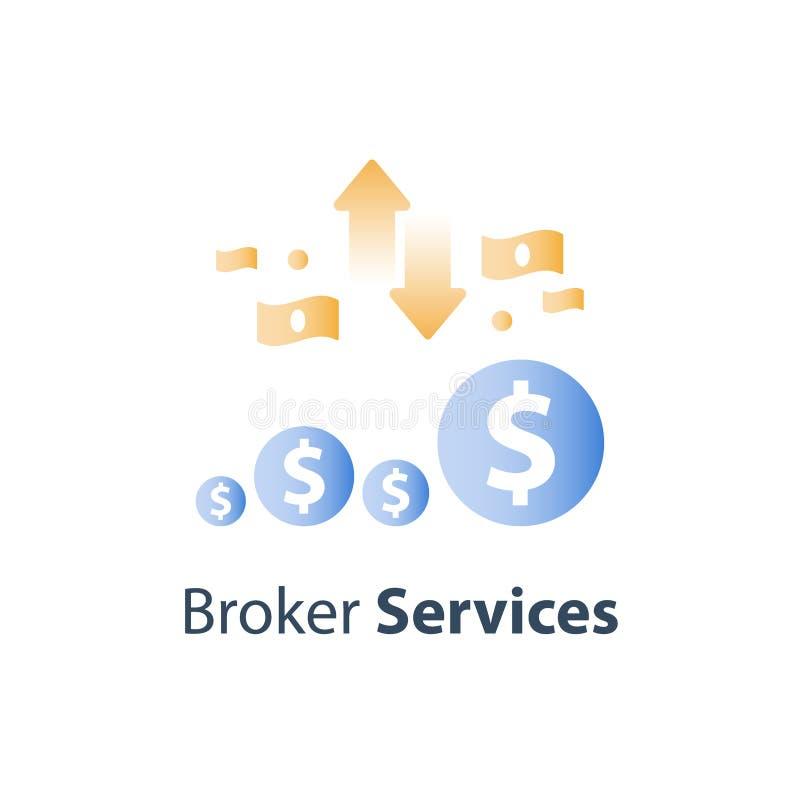 O conceito da finança, dinheiro rápido, empréstimo de dinheiro rápido, investe o fundo, plano do orçamento, mercado de valores de ilustração do vetor