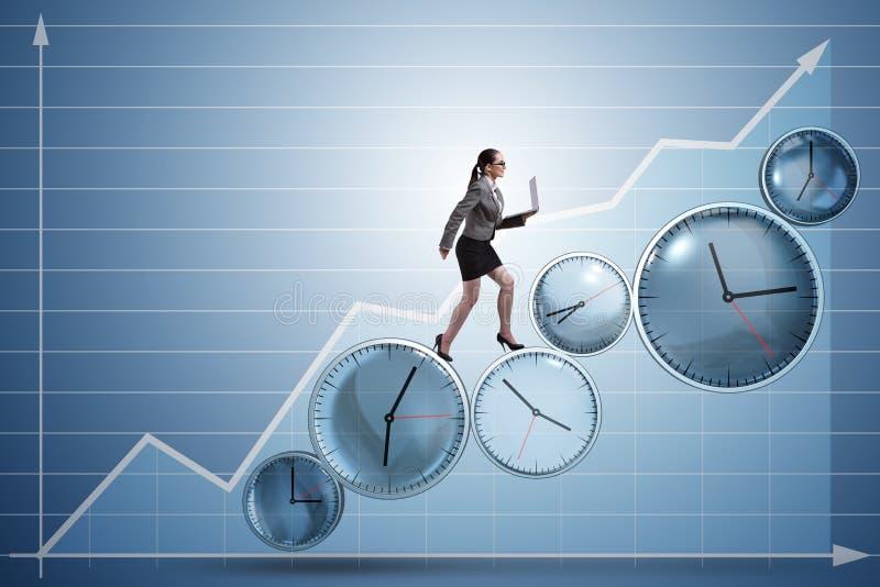 O conceito da gestão da mulher de negócios a tempo imagem de stock