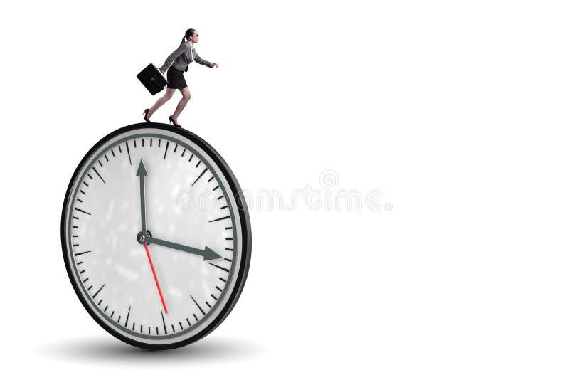 O conceito da gestão da mulher de negócios a tempo foto de stock