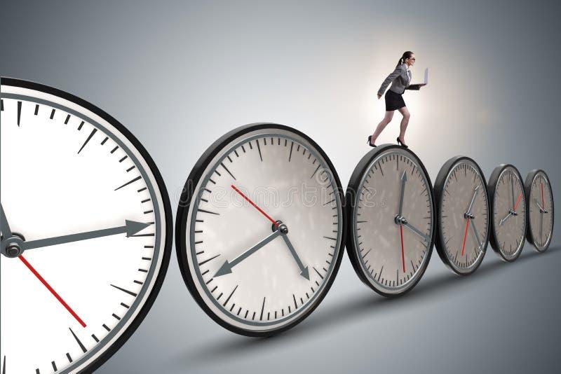 O conceito da gestão da mulher de negócios a tempo fotos de stock royalty free