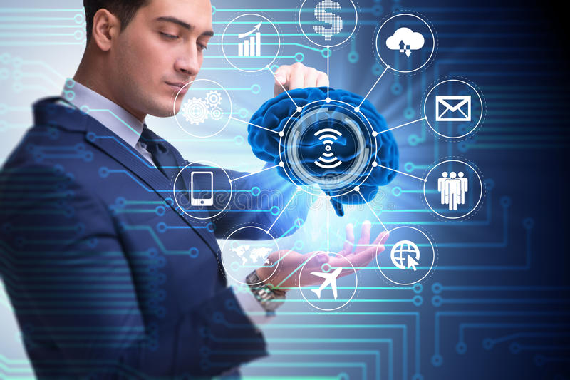 O conceito da inteligência artificial com cérebro e homem de negócios ilustração do vetor
