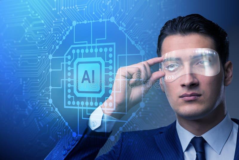 O conceito da inteligência artificial com homem de negócios fotos de stock royalty free