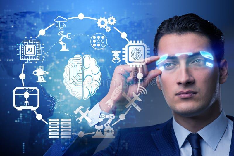 O conceito da inteligência artificial com homem de negócios imagem de stock