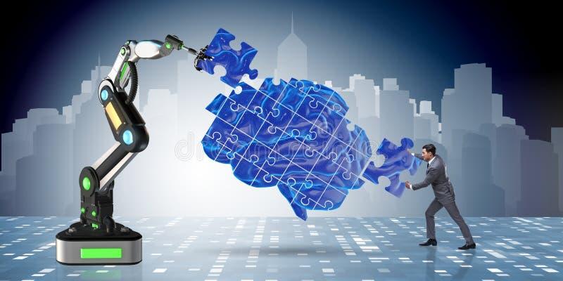 O conceito da inteligência artificial com homem de negócios ilustração stock