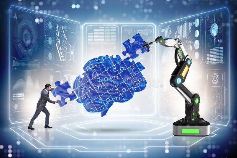 O conceito da inteligência artificial com homem de negócios ilustração royalty free