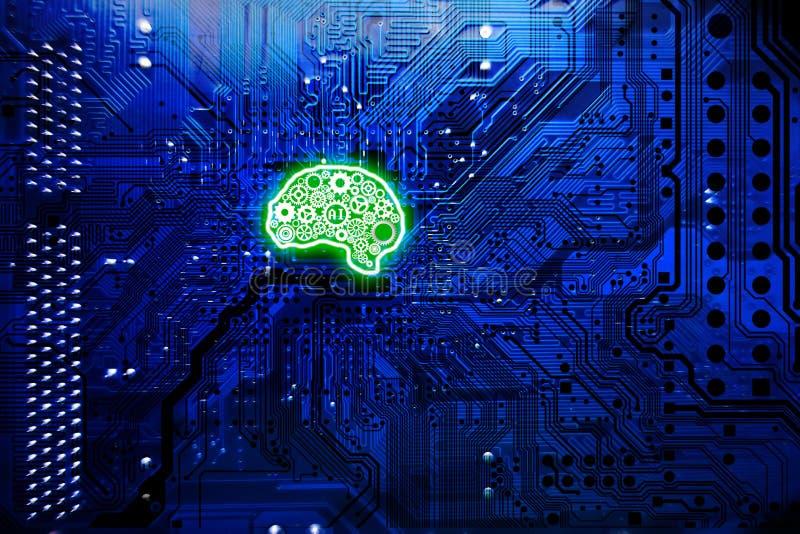 O conceito da inteligência artificial com mainboard do computador e o cérebro verde dão forma fotografia de stock royalty free
