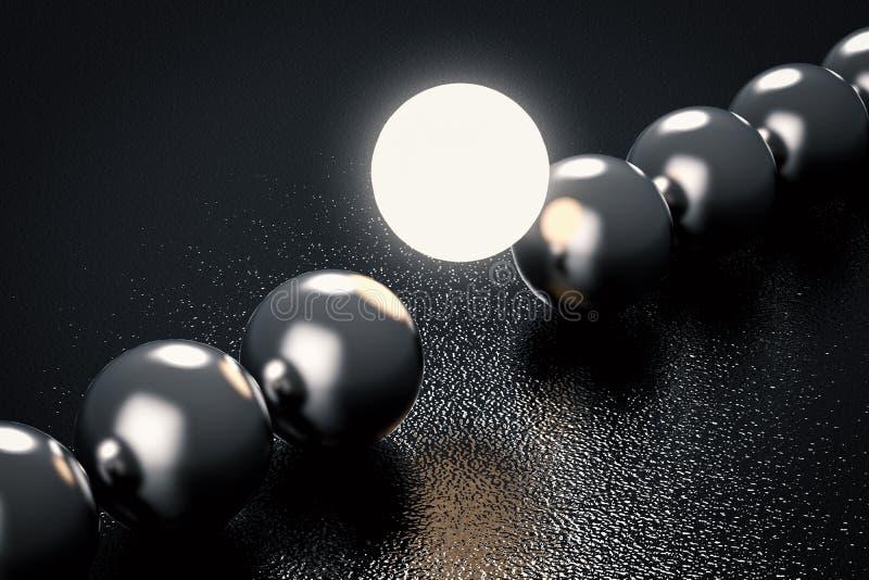 O conceito da liderança com ilumina acima a esfera imagens de stock