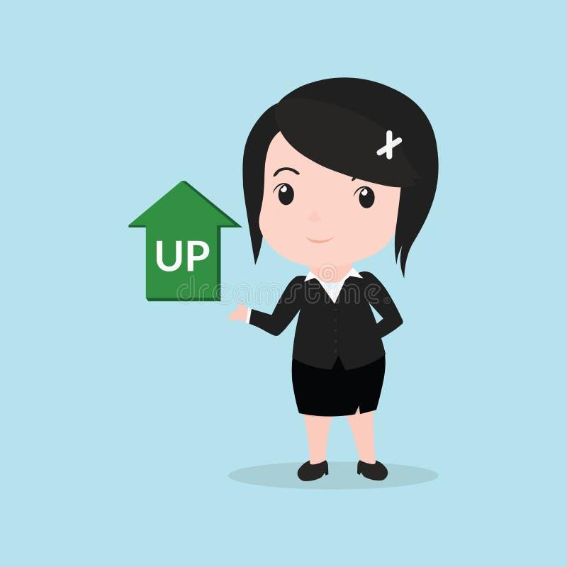O conceito da mulher de negócio tem perto acima da seta ilustração royalty free