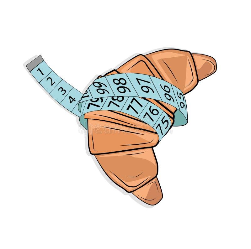 O conceito da perda da dieta e de peso croissant na roleta verde Ilustração do vetor ilustração royalty free