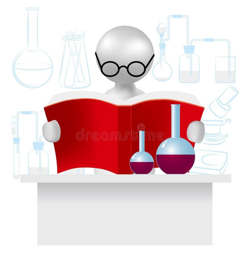 O conceito da pesquisa científica, leitura do livro do coração da posse da mão, imagem usa um inclinação da grade ilustração do vetor