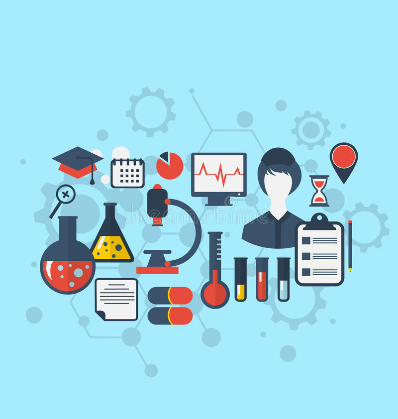 O conceito da pesquisa da ciência médica da gestão, ajustou ícones lisos ilustração stock
