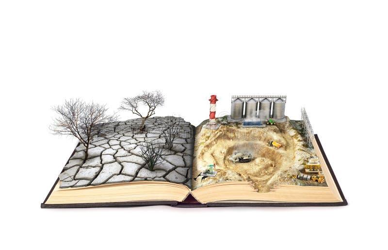 O conceito da poluição um livro aberto, nele um canteiro de obras em uma página de um livro, e secado acima da terra em uma outra ilustração royalty free