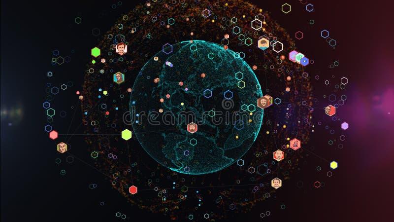 O conceito da rede social, pessoa de união ao redor do mundo ilustração royalty free