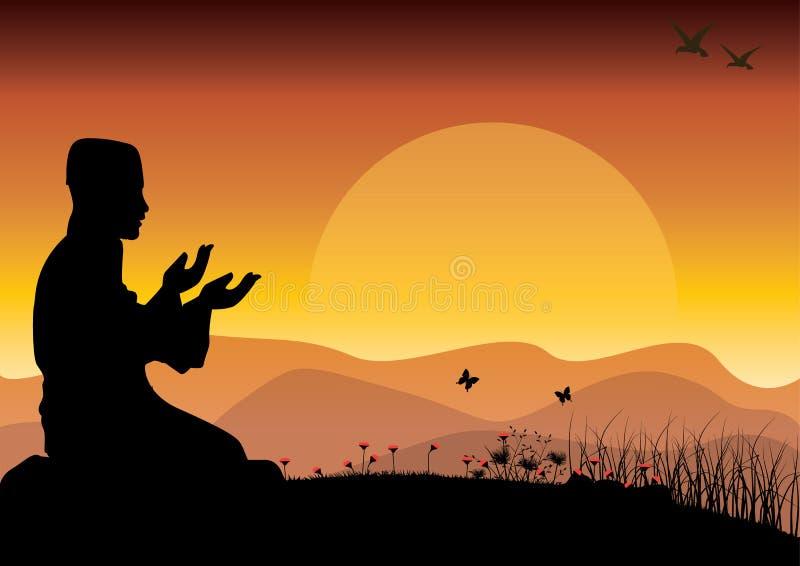 O conceito da religião é Islã Silhueta do homem que rezam, e a mesquita, ilustrações do vetor ilustração stock
