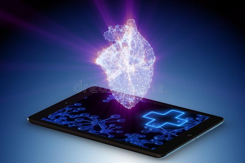 O conceito da telemedicina com monitoração remota da condição de coração ilustração do vetor