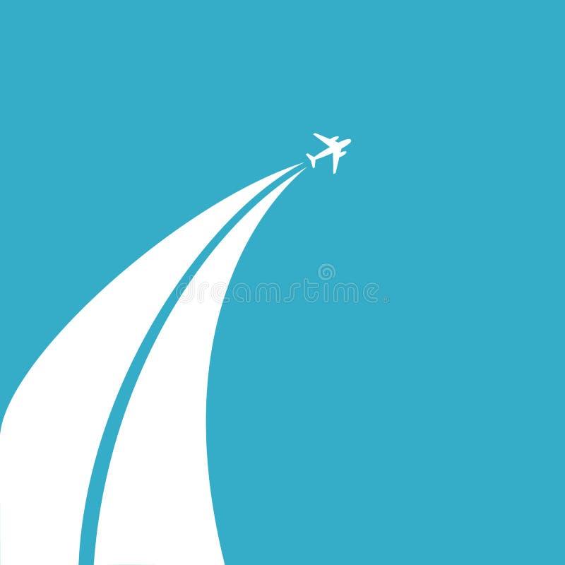 O conceito da viagem pelo plano Plano do voo das nuvens contra o céu azul Projeto liso, ilustração do vetor ilustração royalty free