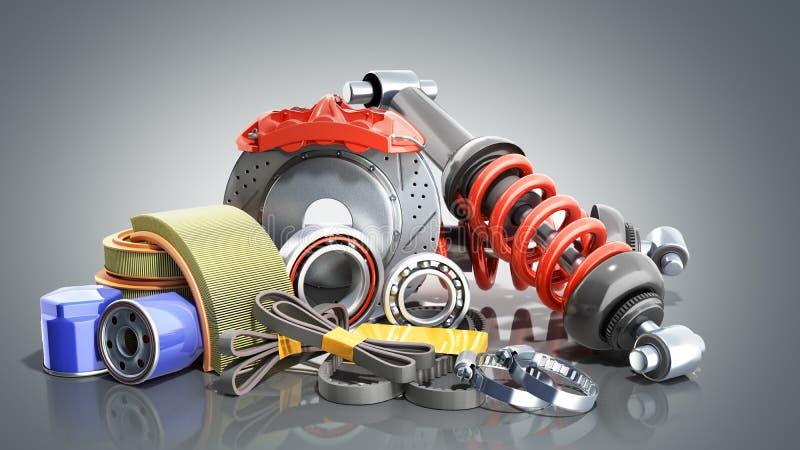 o conceito das fontes automotivos 3d da manutenção do veículo rende sobre ilustração do vetor