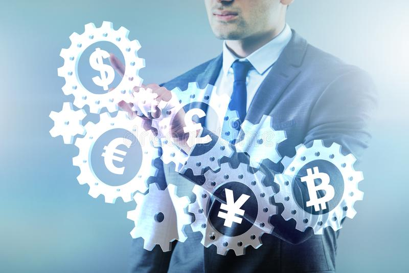 O conceito das várias moedas principais que incluem o bitcoin fotografia de stock