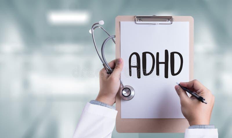 O CONCEITO de ADHD imprimiu a hiperatividade d do deficit de atenção do diagnóstico fotografia de stock royalty free