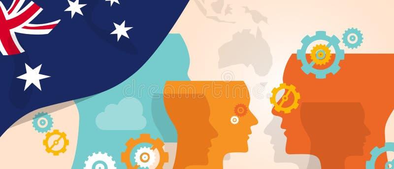 O conceito de Austrália da inovação crescente de pensamento discute o cérebro futuro do país que ataca sob a vista diferente repr ilustração royalty free