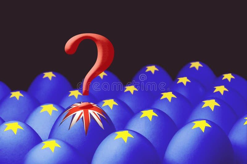 O conceito de Brexit é apresentado do ovo de salto com uma bandeira britânica fora da caixa com os ovos com a bandeira da União E ilustração stock