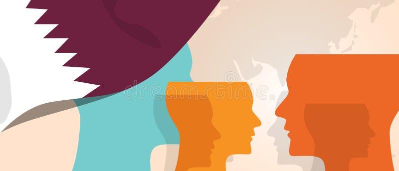 O conceito de Catar da inovação crescente de pensamento discute o cérebro futuro do país que ataca sob a vista diferente represen ilustração do vetor