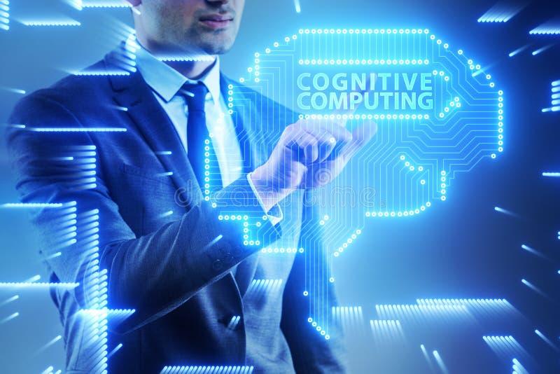O conceito de computação cognitivo como a tecnologia moderna imagens de stock royalty free