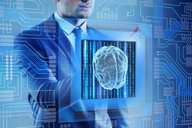 O conceito de computação cognitivo como a tecnologia moderna imagem de stock