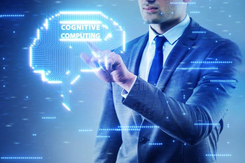 O conceito de computação cognitivo como a tecnologia moderna fotos de stock royalty free
