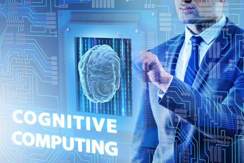 O conceito de computação cognitivo como a tecnologia moderna ilustração stock