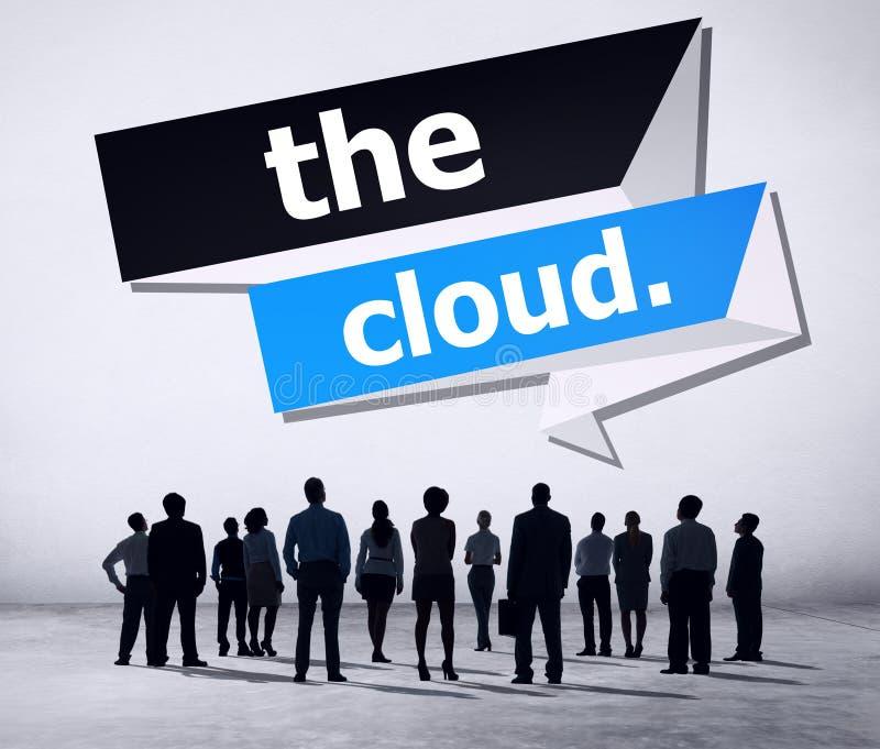 O conceito de computação do armazenamento dos trabalhos em rede da nuvem imagem de stock