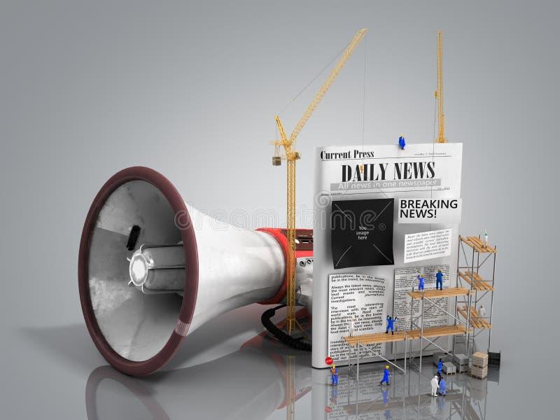 O conceito de criar construtores da notícia cola o texto a uma notícia vazia ilustração stock