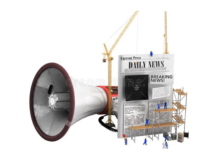 O conceito de criar construtores da notícia cola o texto a uma notícia vazia ilustração do vetor