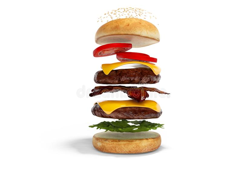 O conceito de criar o Hamburger nas camadas 3d rende a ilustração no fundo branco com sombra ilustração royalty free