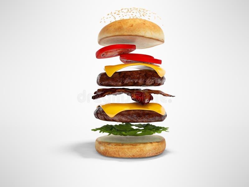 O conceito de criar o Hamburger nas camadas 3d rende a ilustração no fundo cinzento com sombra ilustração stock