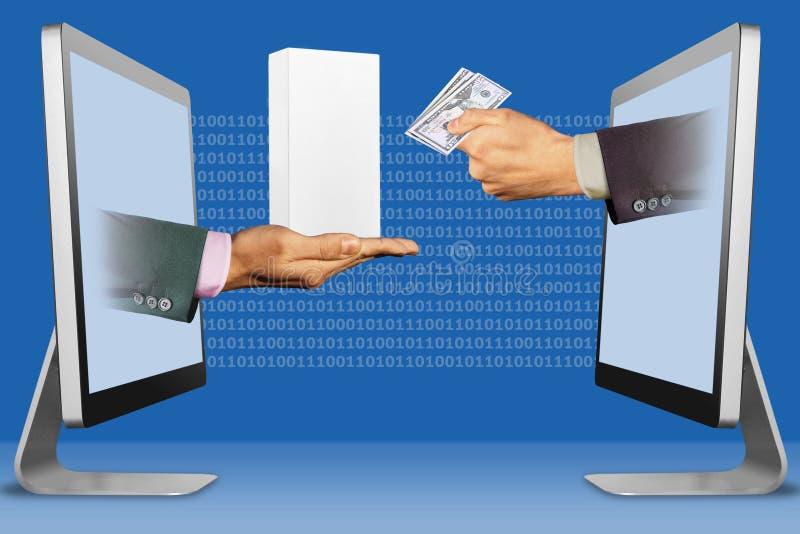 O conceito de Digitas, mãos aparece dos portáteis mão com a caixa pequena branca do telefone celular e mão com dinheiro do dinhei foto de stock royalty free