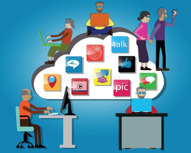 O conceito de envelhecimento da sociedade, as pessoas superiores usava o medie social e aplicações móveis - vetor ilustração do vetor