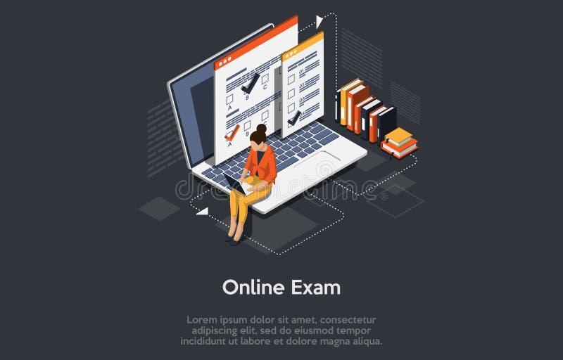O conceito de Isométrico Online Exam, Education Online, pode ser usado para páginas da Web, modelos, IU, aplicativos móveis, bann ilustração royalty free