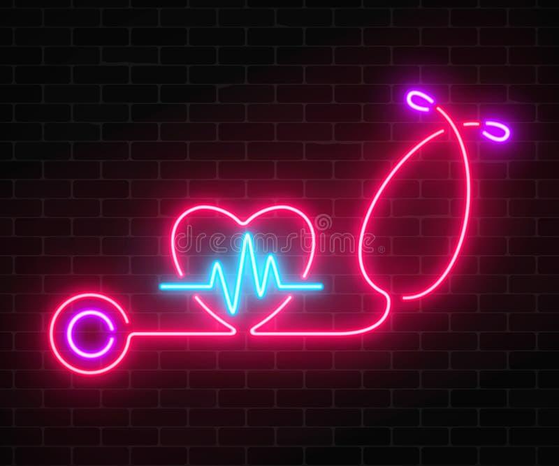 O conceito de néon de incandescência da medicina assina com gráfico do cardiograma na forma do coração e estetoscópio em um fundo ilustração stock