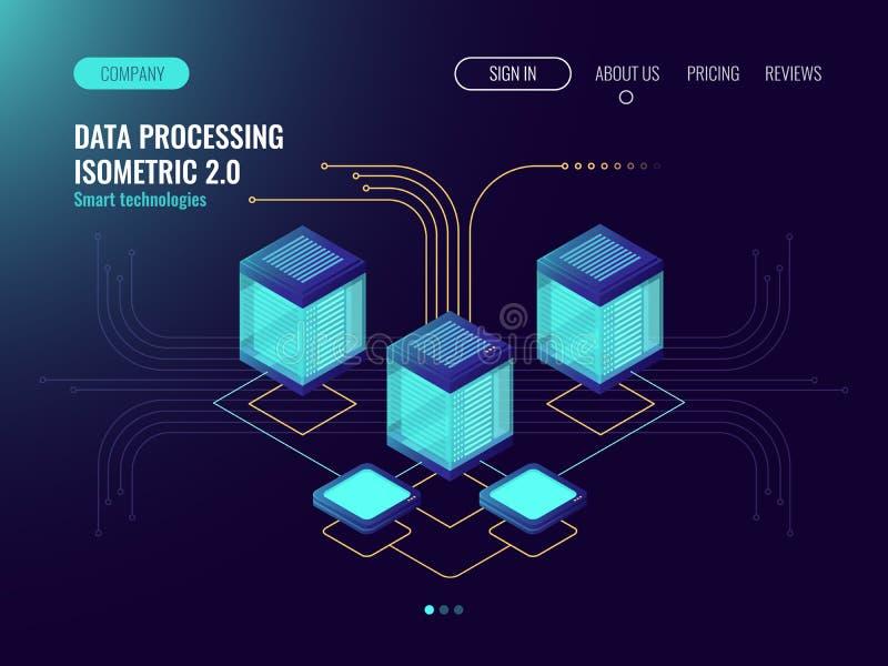 O conceito de processo de dados, sala do servidor, conceito do alojamento web, tecnologia abstrata objeta, fluxo de informação, a ilustração stock