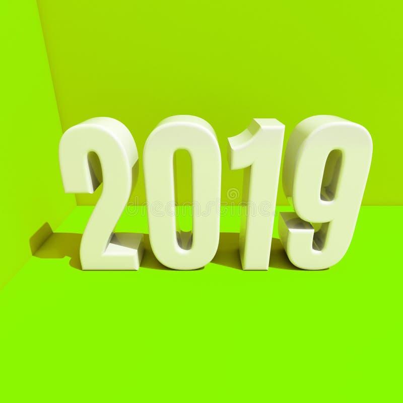 O conceito de projeto criativo 3D do vermelho 2019 do ano novo rendeu a imagem ilustração do vetor