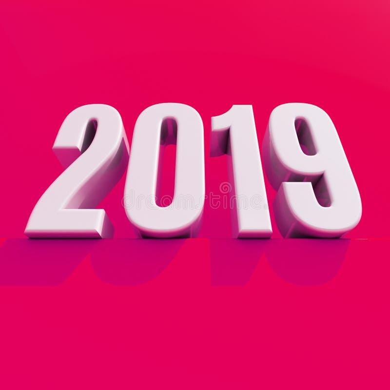 O conceito de projeto criativo 3D do vermelho 2019 do ano novo rendeu a imagem ilustração royalty free
