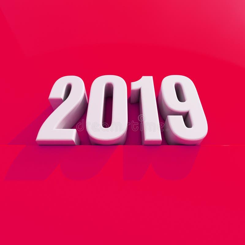 O conceito de projeto criativo 3D do vermelho 2019 do ano novo rendeu a imagem ilustração stock
