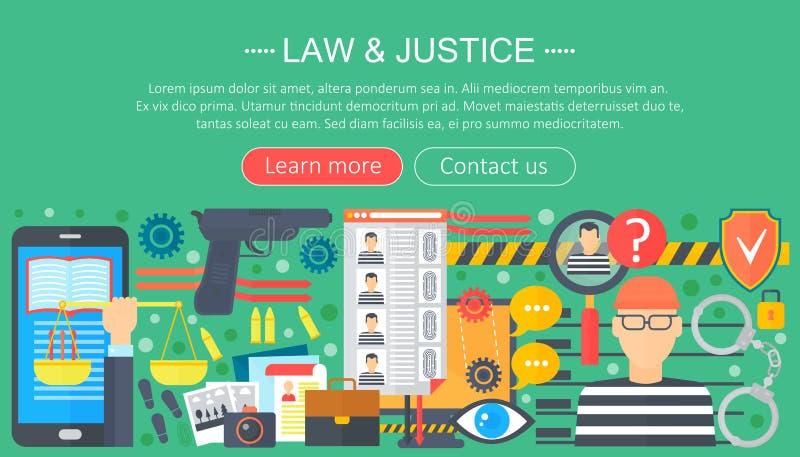 O conceito de projeto da lei e da justiça com molde do infographics do prisioneiro e da arma projeta, elementos do encabeçamento  ilustração stock