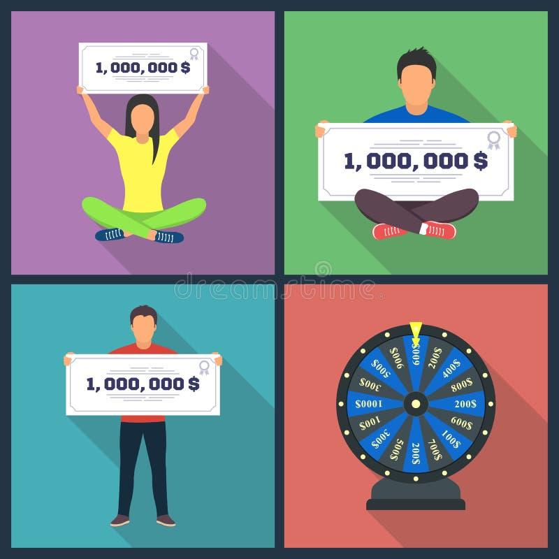 O conceito de projeto da loteria ajustou-se com combinações de vencimento horizontalmente ilustração royalty free