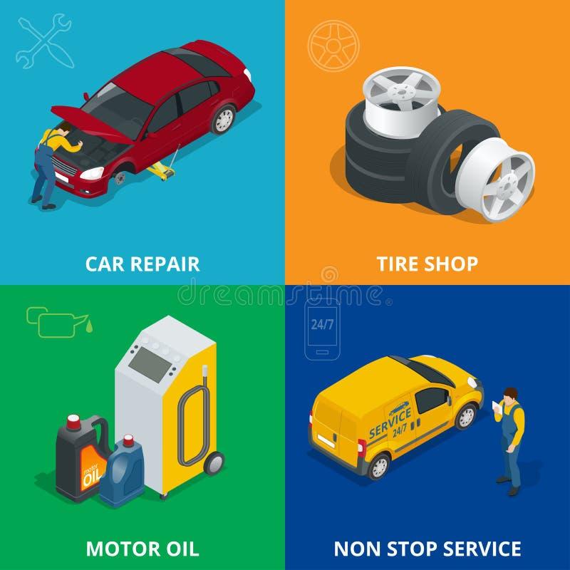 O conceito de projeto do auto mecânico ajustou-se com serviço de reparações do carro, auto diagnóstico do carro do computador do  ilustração royalty free