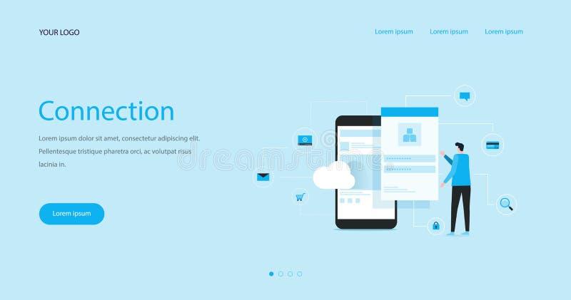 O conceito de projeto liso do encabeçamento da Web da ilustração com o homem de negócio que usa o móbil conecta para nublar-se ilustração stock