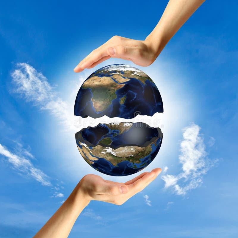 O conceito de proteger o mundo. ilustração do vetor